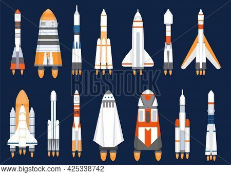 Space Rockets. Flat Spaceship Shuttles Launched For Cosmic Explore Mission. Futuristic Galaxy Travel