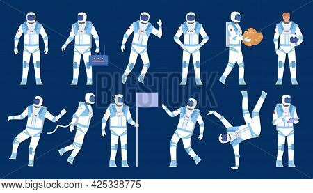 Astronaut Poses. Spaceman Dancer, Stand With Flag, Float In Space. Flat Character In Cosmonaut Suit