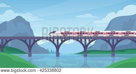 Train On Bridge. Mountain Landscape With Speed Electric Train On Railway. Fast Railroad Transport. T