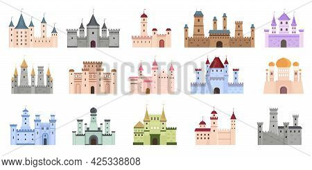 Medieval Castles. Fairytale Buildings, Fortress And Royal Palaces. Flat Ancient Gothic Architecture