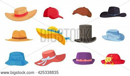 Cartoon Hats. Female And Male Headwear, Derby And Cowboy, Straw Hat, Cap, Panama And Cylinder. Summe
