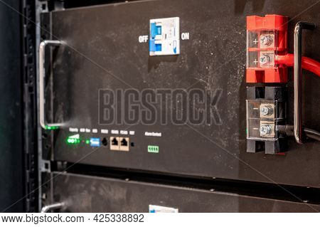 Bank Of Electric Batteries In A Residential House Used For Backup Power Or In Conjunction With Solar