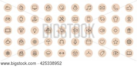 Highlights Line Icon Set. Highlights For Lifestyle, Travel And Beauty Bloggers, Photographers And De
