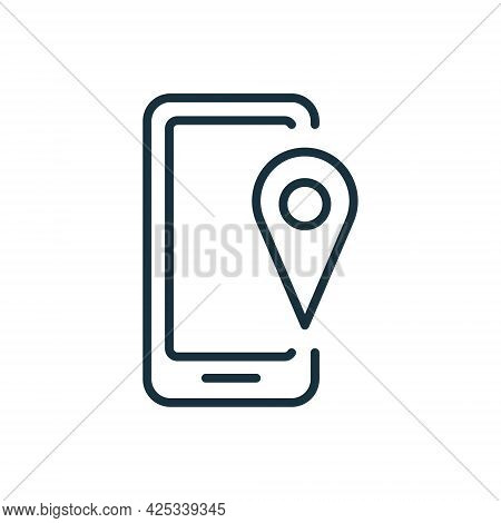 Mobile Navigation And Location Line Icon. Smartphone With Gps Marker. Mobile Gps Navigation And Trac