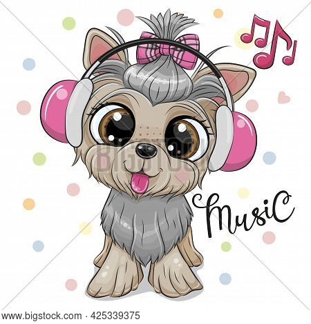 Cute Cartoon Dog Yorkshire Terrier With Hedphones On A White Background