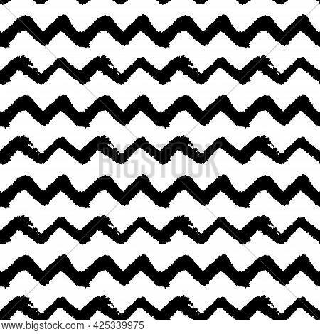 Chevron Zigzag Line Black And White Hand Drawn Simple Ink Brush Stroke Seamless Pattern. Vector Illu
