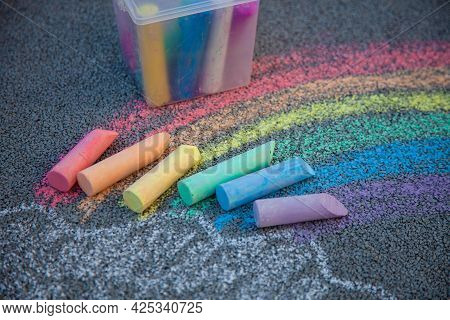 Chalks In Rainbow Colors. Chalk For Drawing On The School Board And On The Street On The Pavement. C