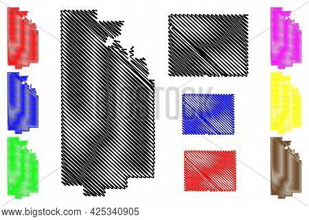 Uinta And Teton County, State Of Wyoming (u.s. County, United States Of America, Us) Map Vector Illu