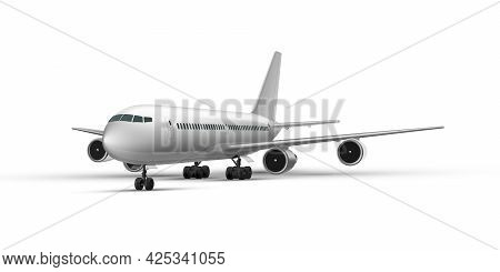 Realistic Standing Airplane, Jet Aircraft Or Airliner Perspective View. Detailed Passenger Air Plane