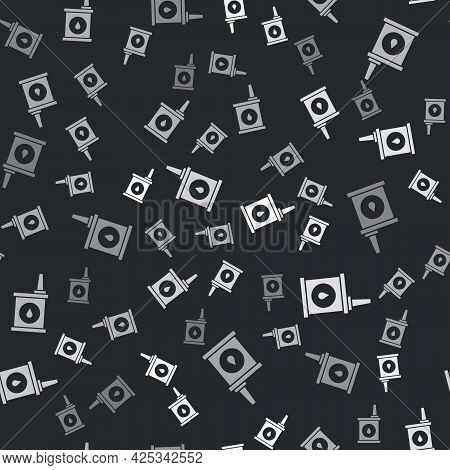 Grey Canister For Motor Machine Oil Icon Isolated Seamless Pattern On Black Background. Oil Gallon.