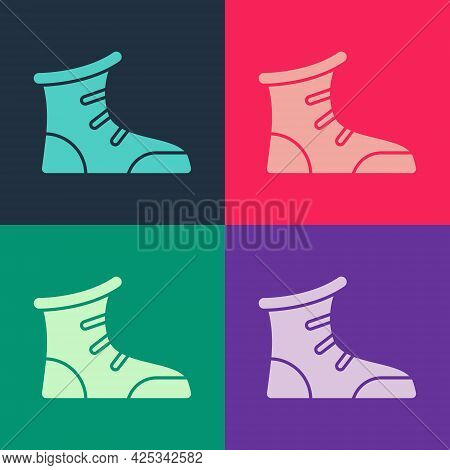 Pop Art Sport Boxing Shoes Icon Isolated On Color Background. Wrestling Shoes. Vector