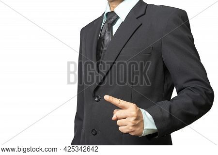 Portrait Business Man Wearing A Suit Point Finger Forward Isolated On White Background With Clipping