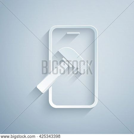 Paper Cut Smartphone With Broken Screen Icon Isolated On Grey Background. Shattered Phone Screen Ico