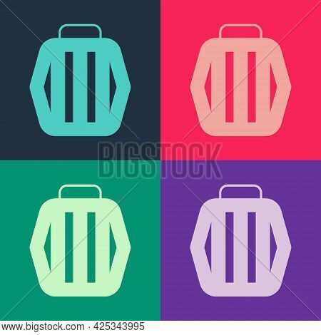 Pop Art Pet Carry Case Icon Isolated On Color Background. Carrier For Animals, Dog And Cat. Containe