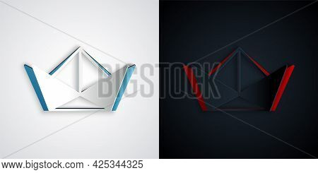Paper Cut Folded Paper Boat Icon Isolated On Grey And Black Background. Origami Paper Ship. Paper Ar