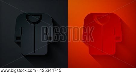 Paper Cut Baseball T-shirt Icon Isolated On Black And Red Background. Baseball Jersey, Sport Uniform