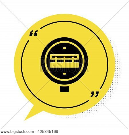 Black Railroad Crossing Icon Isolated On White Background. Railway Sign. Yellow Speech Bubble Symbol
