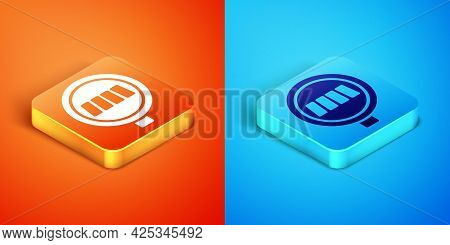 Isometric Pedestrian Crosswalk Icon Isolated On Orange And Blue Background. Traffic Rules And Safe D