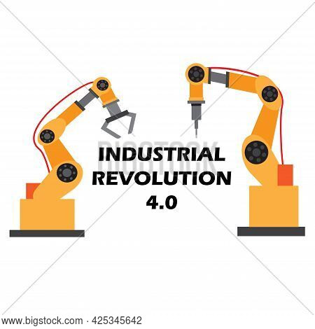 A Vector Of Robotic Arm With Industrial Revolution 4.0 On White Background.