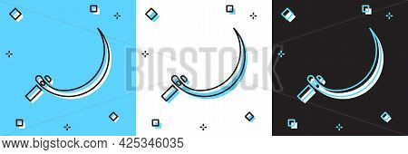 Set Sickle Icon Isolated On Blue And White, Black Background. Reaping Hook Sign. Vector