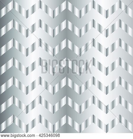 Silver Gradient Chevron Pattern. Abstract Modern Vector Background. Shiny Metal Zigzag Wallpaper.