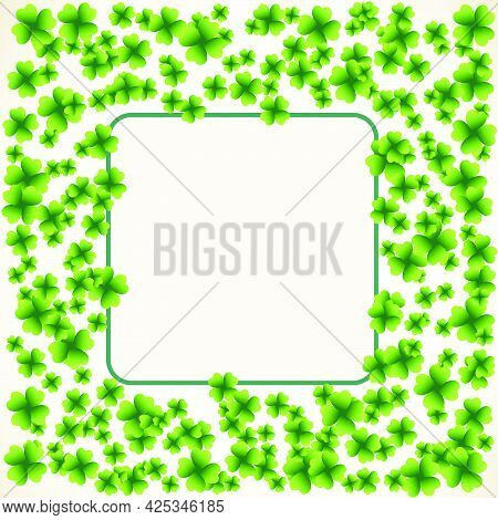Saint Patrick's Day Square Light Vector Frame With Small Green Four-leaf Clover Shamrock Leaves. Iri