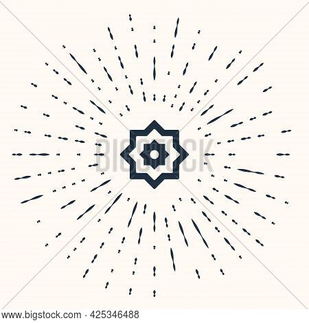 Grey Islamic Octagonal Star Ornament Icon Isolated On Beige Background. Abstract Circle Random Dots.