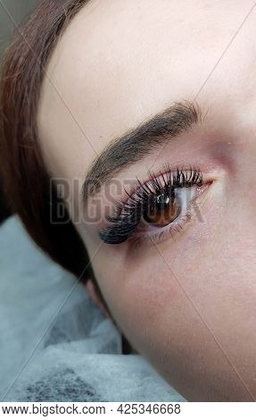 Wet Lash Extensions In Beauty Salon Macro Hazel Eye Top View