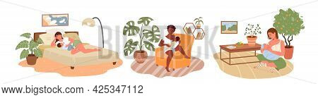 Cartoon Mom Character With Newborn Kid Sitting Together, Woman Feeding Infant Baby With Breast Milk,