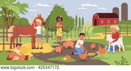 Cartoon Boy Girl Child Characters Holding Cute Piggy, Hugging Dog, Standing Next To Horse And Feedin