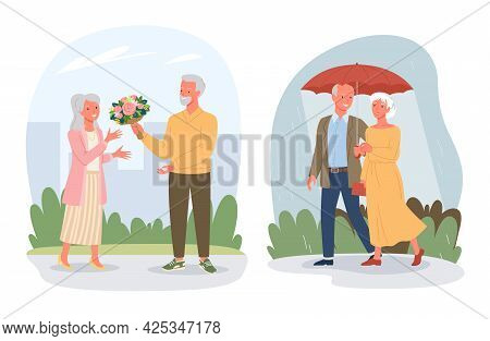 Cartoon Retired Pensioner Lover Characters Sitting Together On Sea Beach, Walking In Rain Isolated O
