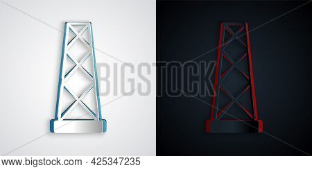 Paper Cut Antenna Icon Isolated On Grey And Black Background. Radio Antenna Wireless. Technology And