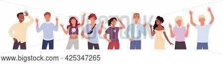 People Greeting And Waving Hand Vector Illustration Set. Cartoon Diverse Happy Young Man Woman Chara