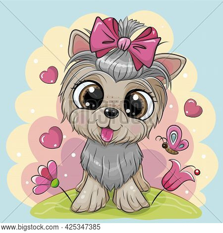 Cute Cartoon Dog Yorkshire Terrier With Flowers On A Blue Background