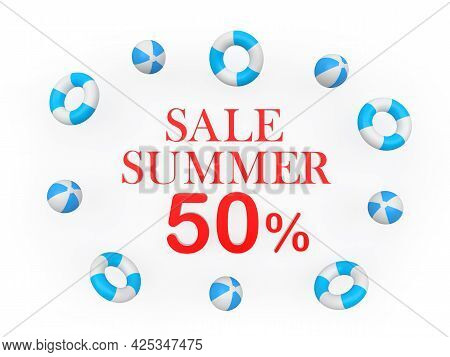 Banner With Text Summer Discounts Fifty Percent Surrounded By Beach Balls. 3d Illustration