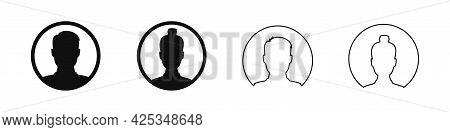 User Profile Avatar In Circle Icon, Male And Female Silhouette In Round Shape For Anonymous Internet