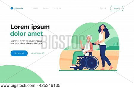 Young Woman Wheeling Wheelchair With Senior Man. Volunteer Helping Disabled Person Flat Vector Illus
