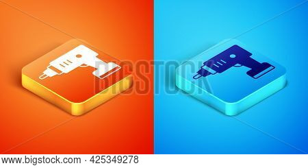 Isometric Electric Cordless Screwdriver Icon Isolated On Orange And Blue Background. Electric Drill