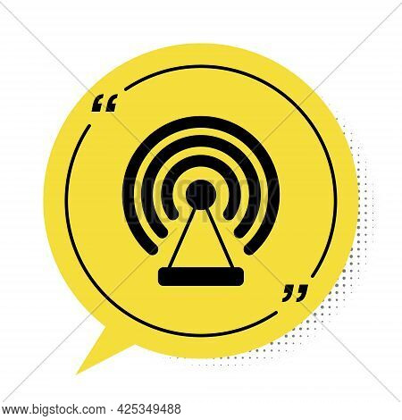 Black Radar Icon Isolated On White Background. Search System. Satellite Sign. Yellow Speech Bubble S