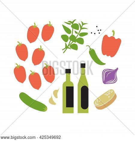 Fresh Raw Gazpacho Ingredients. Square Vector Illustration Isolated On White.