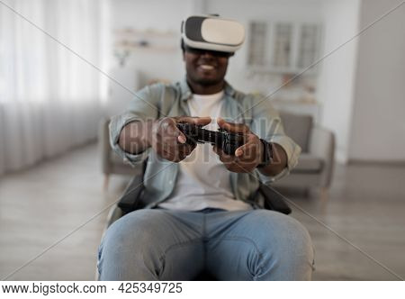 Enjoying Virtual Reality Glasses, 3d Spectacles And Controller Gamepad At Home