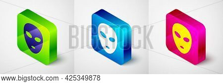 Isometric Alien Icon Isolated On Grey Background. Extraterrestrial Alien Face Or Head Symbol. Square