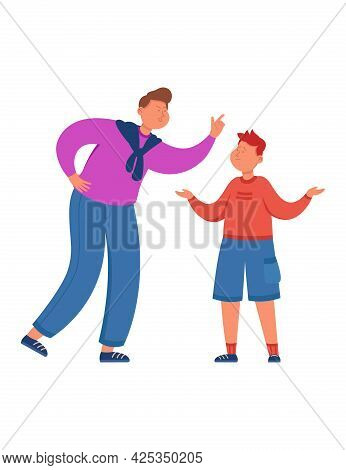 Angry Father Scolding And Punishing Son Flat Vector Illustration. Sad And Crying Child Making Helple