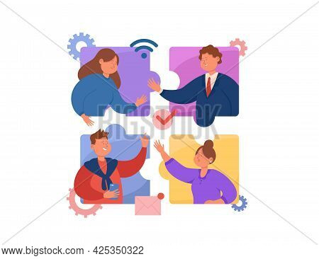 People Having Online Video Call Flat Vector Illustration. Business Team Talking Through Windows In S