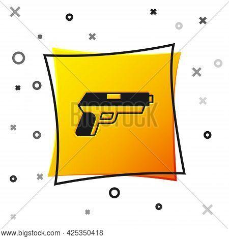 Black Pistol Or Gun Icon Isolated On White Background. Police Or Military Handgun. Small Firearm. Ye