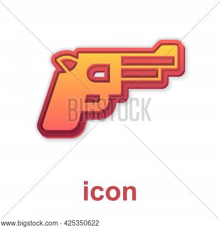 Gold Pistol Or Gun Icon Isolated On White Background. Police Or Military Handgun. Small Firearm. Vec