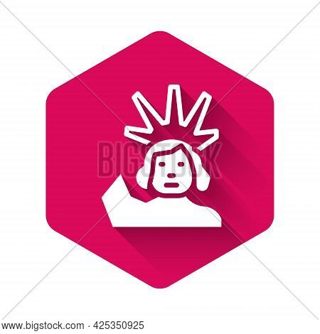 White Statue Of Liberty Icon Isolated With Long Shadow Background. New York, Usa. Pink Hexagon Butto