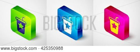 Isometric Paper Glass With Drinking Straw And Water Icon Isolated On Grey Background. Soda Drink Gla