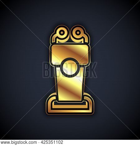 Gold Stage Stand Or Debate Podium Rostrum Icon Isolated On Black Background. Conference Speech Tribu