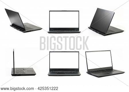 Large Open Laptop  Isolated On White Background - Six Different Views Of A Laptop - Front, Side, Bac